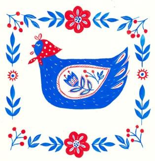 #illustration #veroniqueg #calligraphie #calligraphy #folkart #poule
